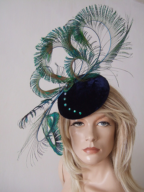 3a9293a4 Peacock Feathers Navy Blue Silk Velvet and Crystals Button Hat Headpiece  Fascinator